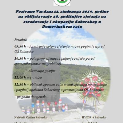 Obilježavanje 28. godišnjice sjećanja na stradavanje i okupaciju Saborskog